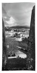 Angra Do Heroismo From Monte Brasil In Black And White Hand Towel