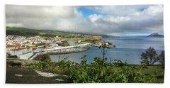 Angra Do Heroismo Port And Split Rock Islet Bath Towel