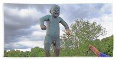 Angry Boy Bath Towel by Allan Levin