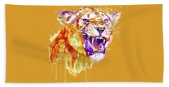 Bath Towel featuring the mixed media Angry Lioness by Marian Voicu