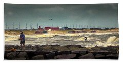 Angry Surf At Indian River Inlet Bath Towel