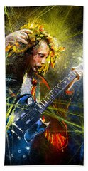 Angus Young Bath Towel by Miki De Goodaboom