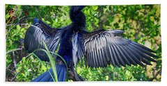 Hand Towel featuring the photograph Anhinga Blue Eye by Deborah Benoit