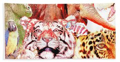 Animal Collage Digital Art Bath Towel