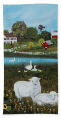 Hand Towel featuring the painting Animal Farm by Virginia Coyle