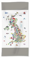 Animal Map Of Great Britain For Children And Kids Bath Towel