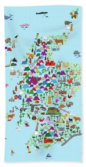 Animal Map Of Scotland For Children And Kids Bath Towel