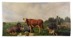 Animals Grazing In A Meadow  Hand Towel