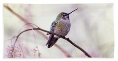 Bath Towel featuring the photograph Annas Hummingbird by Peggy Collins