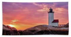Annisquam Lighthouse,sunset Hand Towel