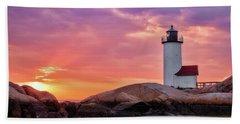 Annisquam Lighthouse,sunset Bath Towel