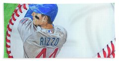 Bath Towel featuring the drawing Anthony Rizzo 2016 by Melissa Goodrich