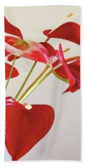 Anthurium Fragments In Red Hand Towel