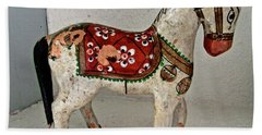 Antique Folk Art Horse Hand Towel by Stephanie Moore