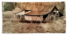 Antique Log Beam Barn Southern Indiana Bath Towel by Scott D Van Osdol