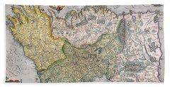 Antique Map Of Ireland Hand Towel