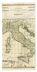Antique Map Of Italy Hand Towel