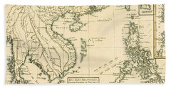 Antique Map Of South East Asia Hand Towel