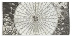 Antique Maps - Old Cartographic Maps - Anemographic Chart Or Map Of The Winds 1650 - Black And White Hand Towel
