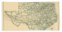 Antique Maps - Old Cartographic Maps - Antique Map Of The Highway System Of Texas, 1933 Bath Towel