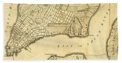 Antique Maps - Old Cartographic Maps - City Of New York And Its Environs Hand Towel