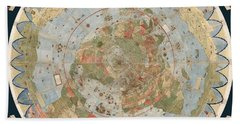 Antique Maps - Old Cartographic Maps - Flat Earth Map - Map Of The World Hand Towel