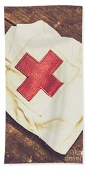 Antique Nurses Hat With Red Cross Emblem Hand Towel