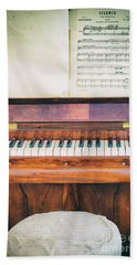 Bath Towel featuring the photograph Antique Piano And Music Sheet by Silvia Ganora