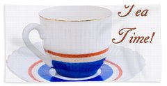 Antique Teacup From Japan With Tea Time Invitation Hand Towel