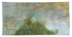 Bath Towel featuring the photograph Antique Vintage Map Of North America Tropical Ocean by Debra and Dave Vanderlaan