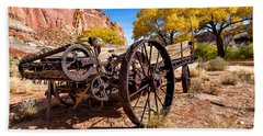 Antique Wagon In The Desert Hand Towel