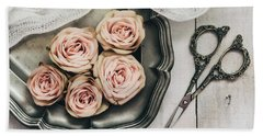 Hand Towel featuring the photograph Antiqued Roses by Kim Hojnacki