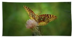 Bath Towel featuring the photograph Aphrodite Fritillary Butterfly by Sandy Keeton