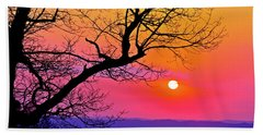 Appalcahian Sunset Tree Silhouette  #1 Hand Towel
