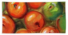 Hand Towel featuring the painting Apple Barrel Still Life by Nancy Merkle