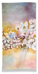 Bath Towel featuring the painting Apple Blooms by Donna Dixon