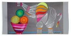Apples And Oranges And Elephants, Oh My -- Whimsical Still Life W/ Elephant Hand Towel
