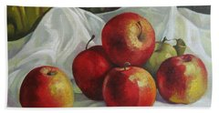 Hand Towel featuring the painting Apples by Elena Oleniuc