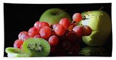 Apples, Grapes And Kiwi  Bath Towel