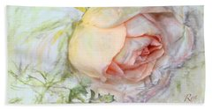 Hand Towel featuring the painting Apricot Nectar Rose With Michaelmas Daisy by Ryn Shell