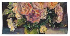Hand Towel featuring the painting Apricot Roses In Green Vase by Ryn Shell
