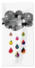 Hand Towel featuring the mixed media April Showers- Art By Linda Woods by Linda Woods