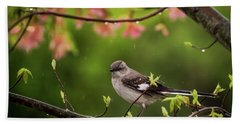 April Showers Bring May Flowers Mocking Bird Hand Towel