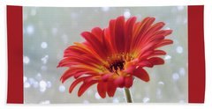 Hand Towel featuring the photograph April Showers Gerbera Daisy Square by Terry DeLuco