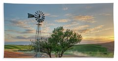 Spring Sunset And Windmill Bath Towel