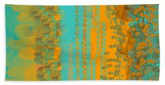 Aqua And Copper Abstract Hand Towel