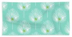 Aqua And White Palm Leaves- Art By Linda Woods Hand Towel