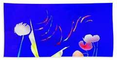 Hand Towel featuring the digital art Aqua Flora by Asok Mukhopadhyay