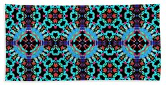 Aqua Geometric Mandala Bath Towel