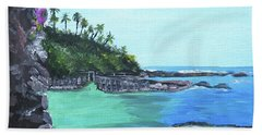 Hand Towel featuring the painting Aqua Passage by Judy Via-Wolff